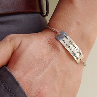 "Personalized Friendship Engraved ID Bracelet, ""Like peanut & jelly.We work together """
