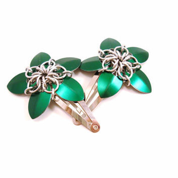 Chainmail Hair Clip Green Flower Barrette Set by SerenityInChains