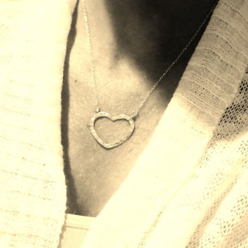 Silver Hammered Heart Necklace, Open Heart, Mothers Day Gift, Layering Design, Love
