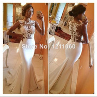 Sleeveless lace sheer mermaid wedding bridesmaid party dress