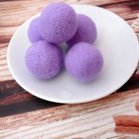 Lavender Felt Balls Wool Beads Felted Bead 100% Wool Felt Pom Poms Balls Wool Pompoms Handmade Mother's day gift DIY Garland Mobile