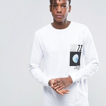 ASOS Long Sleeve Longline T-Shirt With Abstract Photo Print at asos.com