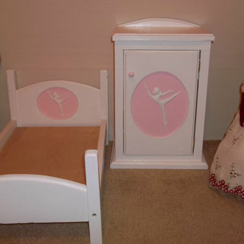 Handcrafted American Girl doll size white bed pink trim ballerina wardrobe doll furniture storage