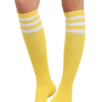 Yellow Knee-High Crew Socks | Hot Topic