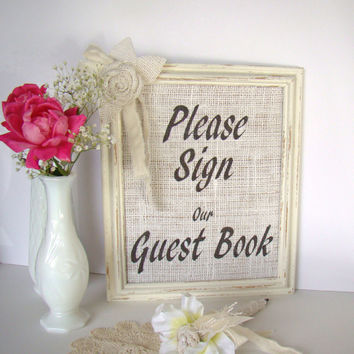 Burlap Wedding Guest Book Sign Rustic Vintage Wedding White Ivory