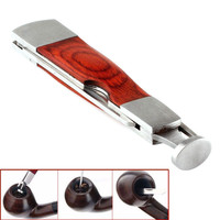 1 Set Multifunction Red Wood Smoking Pipe Cleaning Tool 3 in 1 Stainless Steel S
