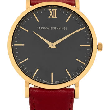 Larsson & Jennings - Läder leather and gold-plated watch