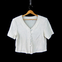 90s Knit Crop Top Off White Shirt Short sleeve Tshirt Cropped Top Preppy Boho Tee Seashell Buttons Vneck womens Medium Large