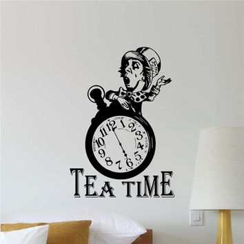 Tea Time Mad Hatter Wall Decal Alice In Wonderland Vinyl Sticker Poster Art Home Decor Removable living Wall Sticker D536