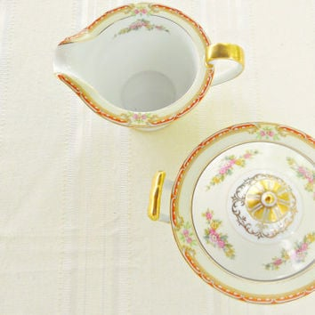 Noritake Sugar and Creamer Set, Rosina, Tea Party, Cottage Style Chic, Ca. 1930's