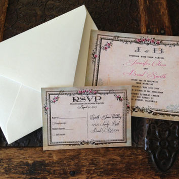 vintage, elegant, romantic wedding invitation and RSVP card suite.