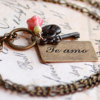 "Spanish ""Te Amo"" ""I Love You"" Postcard Necklace with Flower, Lock and Key Charms"
