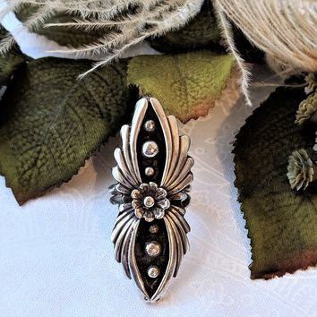 Vintage Native American Navajo Oxidized Sterling Feather Flower Ring Size 7 1/4