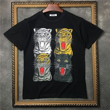ca qiyif Men 4  leopards T Shirts