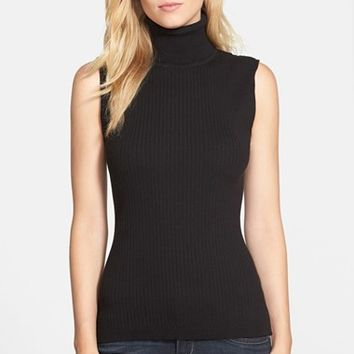 Women's Vince Camuto Sleeveless Ribbed Turtleneck Sweater,