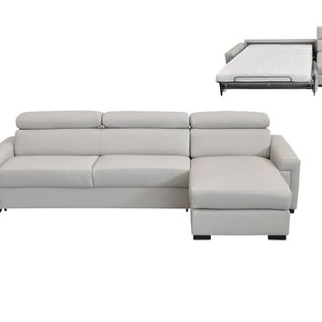 Estro Salotti Sacha Modern Light Grey Leather Reversible Sofa Bed Sectional w/ Storage