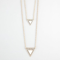 Full Tilt Ivory Triangle 2 Row Necklace Gold One Size For Women 23417944201