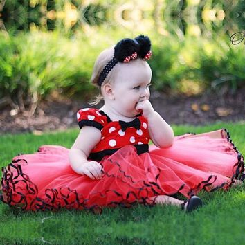 Baby Girls Minnie Tutu Dress Bow-knot Dot Backless Kids Cartoon Dress Party 1 Year Birthday Dress Fancy Mouse Cosplay Costume