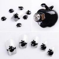 Yesurprise Black Rhinestones Apple 10 pieces Silver 3D Alloy Nail Art Slices Glitters DIY Decorations
