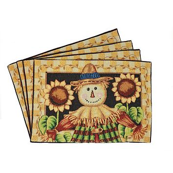 Tache Sunflower Field Scarecrow Autumn Harvest Woven Tapestry Placemats (11712PM)