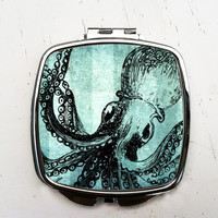 Blue Octopus Pocket Mirror