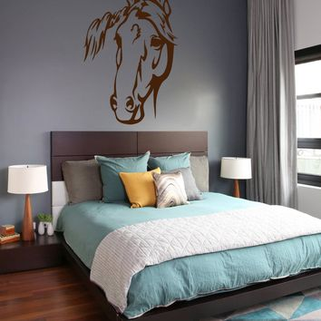 ik683 Wall Decal Sticker head horse nag pet stallion thoroughbred horse bedroom