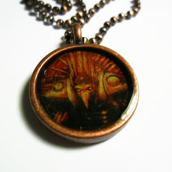 Metroid Chozo necklace set in copper - 18 inch ball chain Free size adjustments - video game pendants - metroid