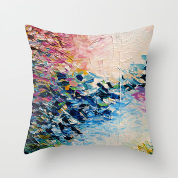 PARADISE DREAMING Colorful Pastel Abstract Art Painting Textural Pink Blue Tropical Brushstrokes Throw Pillow by EbiEmporium