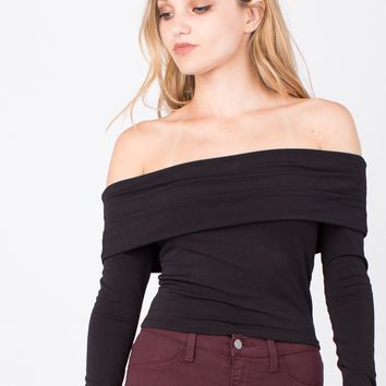 Draped Off-the-Shoulder Crop Top