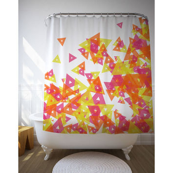 Red And Yellow Geometric Art, Shower Curtain, Bathroom Art, Home Decor, Printed Curtain, Custom Shower Art