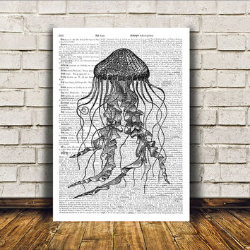Nautical art Jellyfish poster Beach house decor Marine print RTA62