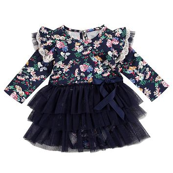 Autumn Hot Girl Dress Newborn Baby Long Sleeve Romper Tutu Floral Dress 2017