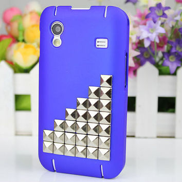 Blue Hard Case Cover With Silvery Stud For Samsung Galaxy Ace S5830