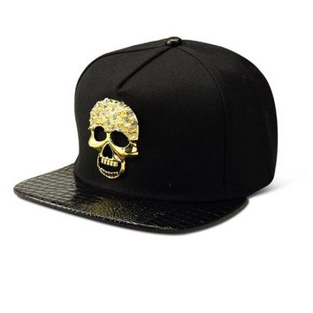 Sports Hat Cap trendy  Bling Diamond Ghost Cotton Snapback Hats Men Women Gorras golf bone Golden Skull Head Baseball Caps Sports Crystal hip hop hat KO_16_1