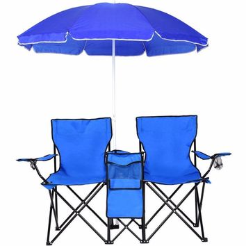 Portable Double Folding Chair with Removable Umbrella Canopy Dual Seat for Patio Beach Picnic Fishing Camping Garden - US Stock