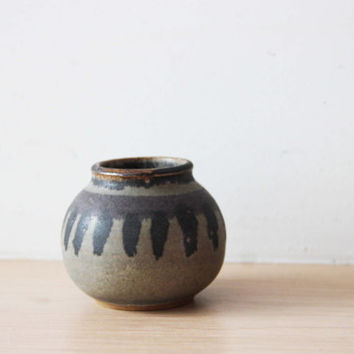 Miniature ceramic vase, grey black bud vase of high fire stoneware clay, ceramic pot for flowers, brushes, etc, Greek pottery bud vase