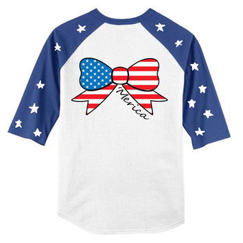 American Flag Bow Merica Fourth of July Baseball Raglan Stars and Stripes Shirt