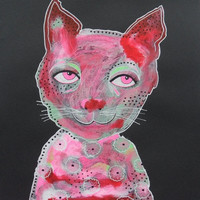 Raw Art Cat - Folk Art  Cat - Primitive Art Cat - Cat Illustrations - Cat Paintings - Pink And Black- Outsider Art Cat - Quirky Cat Art