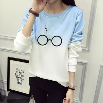 Harry Potter Glasses Print Sweatshirt Women Hoodie O-Neck Winter Women Sweatshirt Casual Long Sleeve Tracksuit Hoodies JBW-21568