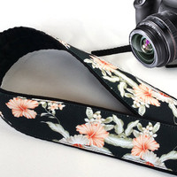 Floral Camera Strap. Flowers Camera Strap. Black Pink Camera Strap.Cool Camera Strap.  Accessories