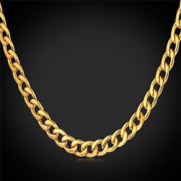 Men's Cuban Link Necklace - Gold or Silver Plated