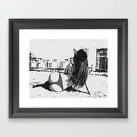 At the beach - sexy girl, black and white, hot rear, booty view, perfect fit and curvy body shapes, Framed Art Print by hmdesignspl