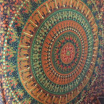 Large Indian Elephants, Camels, Flowers Printed Bedspread Tapestry Mandala Hippie Throw Cotton Bohemian Coverlet Home Decorative Art
