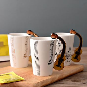 New Arrival Creative Guitar Ceramic Cup Personality Music Note Sensitive Mug Cup Coffee Tea Milk Cup Unique Gift Home Cafe 250ml