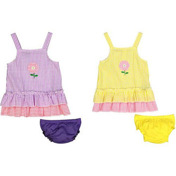 Baby Girl Seersucker Dress with Panty - Plaid with Large Flower