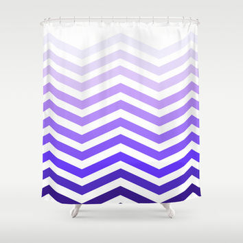 Purple Chevron Shower Curtain by Michelle Albert
