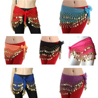 3 Rows Belly Dancing Hip Scarf Wrap Belt Dancer Skirt Costume With Gold Coins = 1958073860