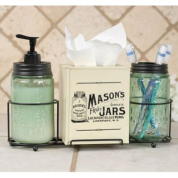 Mason Jar Bathroom Caddy with Mason Jars & Tissue Box Cover
