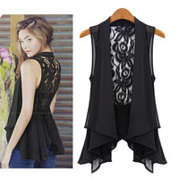 Vest Lace Back Sleeveless Chiffon Blouse