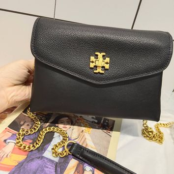 Kuyou Gb99822 Tory Burch Chain Flap Cover Bag Crossbody Bag In Black Grained Leather 20*13.5*7.5cm